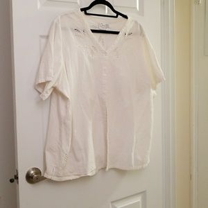 White button t'shirt with cut out design
